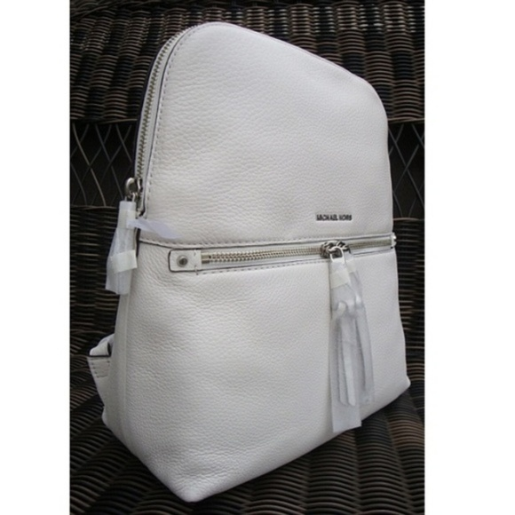 34a4236111ade9 Michael Kors Bags | Rhea Medium Slim Backback White Nwt | Poshmark